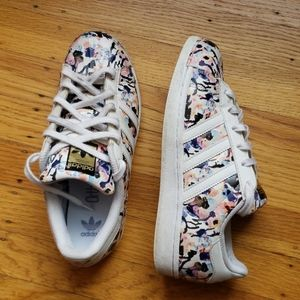 Adidas Superstar floral/paint print sneakers